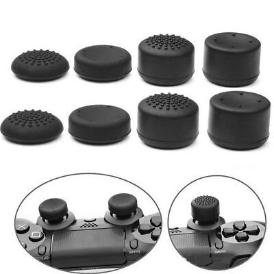 8Pcs Black Silicone Thumb Stick Grip Cover Caps For Playstation 4 PS4 Controller