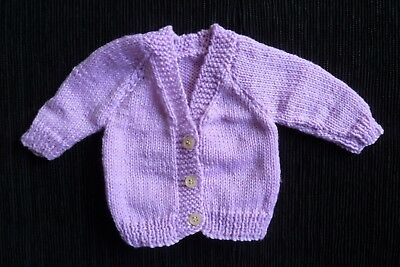 Baby clothes GIRL premature/tiny<7.5lbs/3.4kg NEW! mid-mauve cardigan SEE SHOP!
