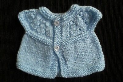 Baby clothes BOY premature/tiny<7.5lbs/3.4kg NEWshort sl.blue cardigan SEE SHOP!