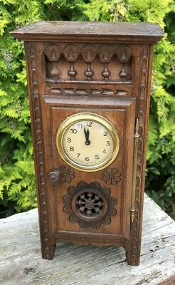 Beautiful Antique Vintage Wooden French Clock in Miniature Cupboard *