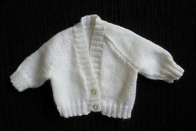 Baby clothes UNISEX BOY GIRL premature/tiny<5lbs/2.3kg white cardigan SEE SHOP!