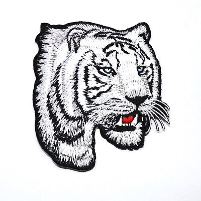 530f2663d9b78 White Bengal Tiger Animal Biker Rock Clothes Jeans Jacket T-Shirt Iron on  patch