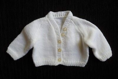 Baby clothes UNISEX BOY GIRL newborn 0-1m soft white hand-knit cardigan SEE SHOP