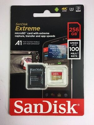 SanDisk Extreme 256gb micro SDXC Memory Card Plus SD Adapter Android - Windows