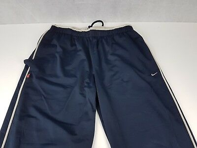 "Nike Track Bottoms Navy Cream Trim XL W: 30"" L: 32""  <C6>"