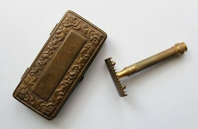Old GILLETTE Open Comb Double Edge Brass Safety Razor Set in BRASS Case 1920's