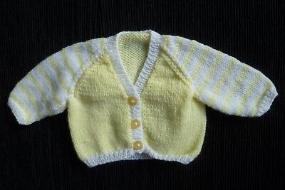 Baby clothes UNISEX BOY GIRL premature/tiny<5lb/2.3kg yellow/white soft cardigan
