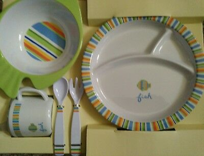 New Pottery Barn Kids Fish 5pc Dish Set baby toddler plate bowl cup fork spoon