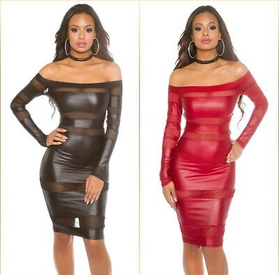 Koucla Kleid Wetlook Lederlook Minikleid mit Mesh