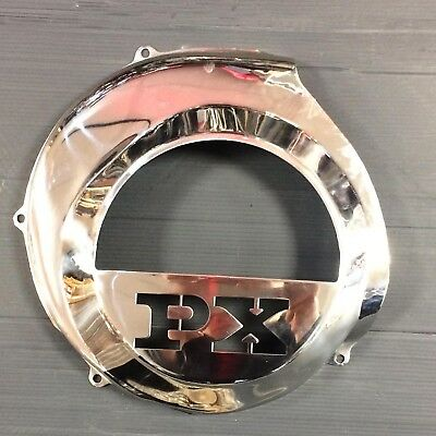"Fly wheel cover stainless steel ""PX"" cut out for Vespa PX/LML Star 2T w/ e start"