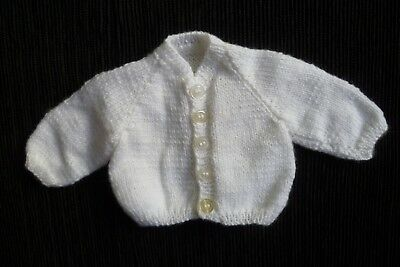 Baby clothes UNISEX BOY GIRL premature/tiny<3.5lbs/1.6kg NEW!soft white cardigan