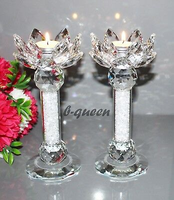 2 Crystal Cut Lotus Flower  Swarovskielements T-Light Candle Holder Gift Box