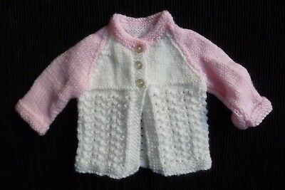 Baby clothes GIRL premature/tiny<5lbs/2.3kg NEW! pink/white patterned cardigan