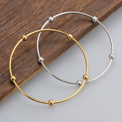 316L Stainless Steel Silver/Gold Round Beads Women's Fashion Bangle Bracelets
