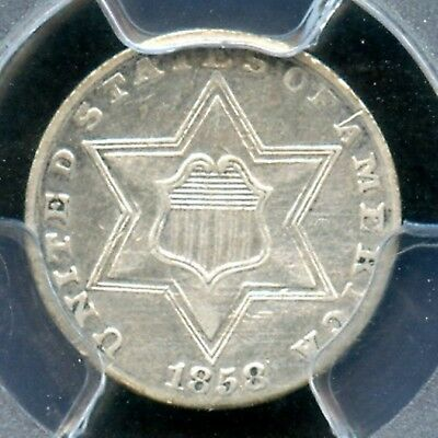1858 Three Cent Silver 3CS Better Date AU