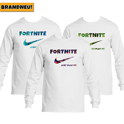 Fortnite Just Play It Pullover Hoodie Kinder Erwachsene Weiss