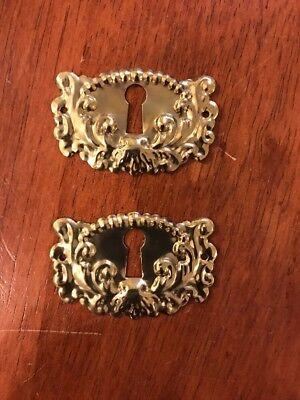 Pair of Vintage Victorian Stamped Brass Decorative Escutcheon Key Hole Cover