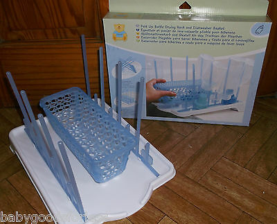 Baby Bottle Feeding Bottle Drying Rack Folds Away For Storage Brand New In Box