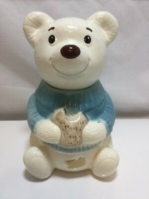 Vintage Metlox Cookie Jar Teddy Bear In Blue Sweater Eating Cookie Ceramic cl