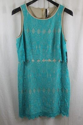 Womens Kensie Teal Lace W Khaki Lining A-Line Dress Size Xl New With Tags $99
