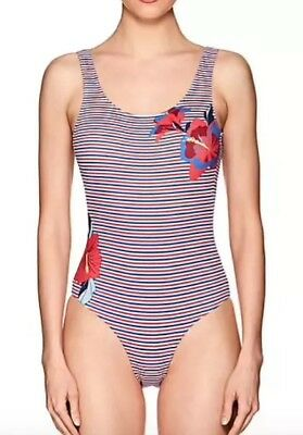 235a28052b ONIA KELLY BLUE Striped One Piece Swimsuit NWT $175 Large - $59.99 ...