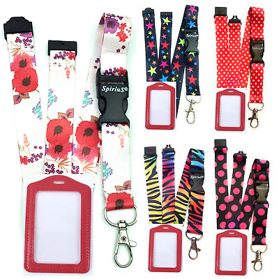 Lanyard Neck Strap SpiriuS with RED ID Badge Holder Safety clip Breakaway n