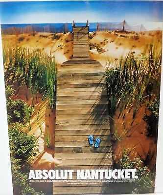 1996 Absolut Nantucket Vodka Ocean Sand Dunes Bottle Shape Boardwalk Print Ad