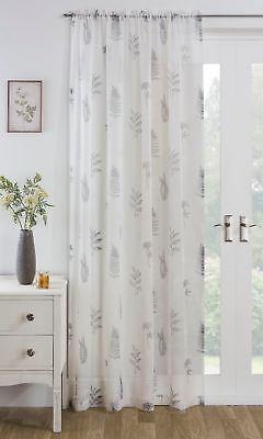 Grey Fern Leaf Leaves Foliage Floral Slot Top White Voile Net Curtain Panel/S