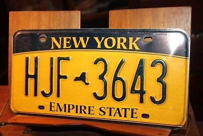 2010 New York Empire State License Plate HJF 3643 (A)