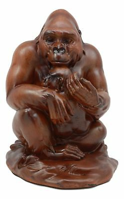"Female Gorilla With Baby Statue 6.5""H Faux Wood Resin Figurine"