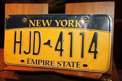 2010 New York Empire State License Plate HJD 4114 (B) BENT