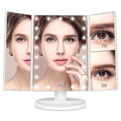 Trifold 21 LED Lighted Touch Screen Tabletop Vanity Makeup Mirror 2x 3x Tabletop
