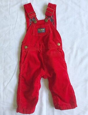 Vintage Oshkosh Bgosh Overalls Corduroy 24 Months Red Plaid Lined Made In USA