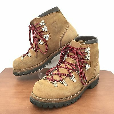 Vtg VASQUE Suede Leather Mountaineering Boots Made In USA Mens 7.5A Extra Narrow