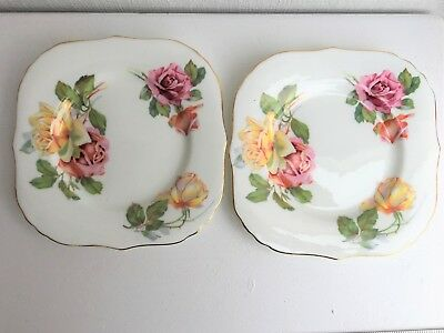 2 Square Vintage Hammersley England Yellow and Pink Roses Plates (952)