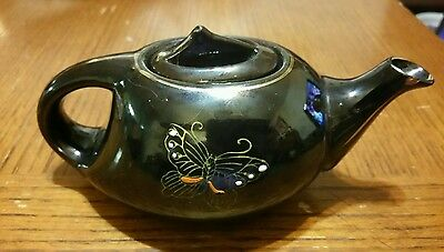 Redware JAPAN Small Black Teapot with Butterfly Gold Leaf Flowers