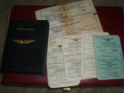 5 Orig WWII  Pilot Card licence navy and marine corps