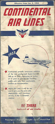 Continental Airlines system timetable 1/5/53 [8081]