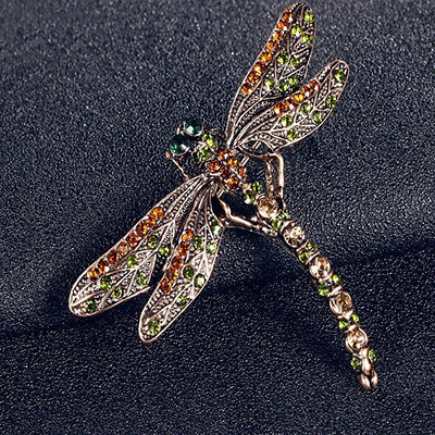 Vintage Lady Crystal Dragonfly Brooches Pin Jewelry Scarf Accessory Gift New Tre