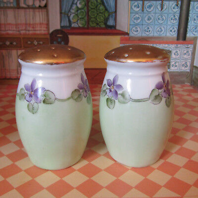 Antique Victorian Edwardian Salt Shakers Porcelain Gold Floral Painted Bavaria