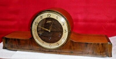 Antique Junghans Tambour Mantle Clock Westminster Chime Germany Working Art-Deco