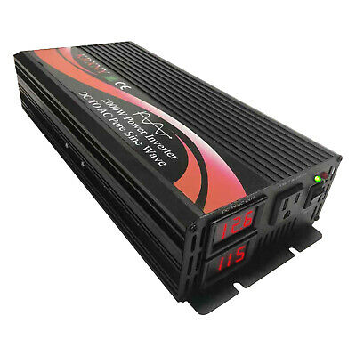 Power Inverter Pure Sine Wave 1000W 1500W 2000W 12V 24V 48V DC to 120V AC 60HZ