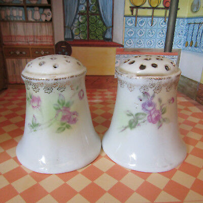 Antique Victorian Edwardian Floral Salt Shakers Vtg Porcelain Painted Roses Gold