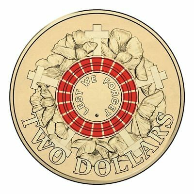 "RED 2015 Anzac $2 Coin Two Dollar Coin ""Lest We Forget"