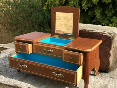 Beautiful Vintage Wooden Mysical Jewellery Box In The Style of a Chest of Draws*