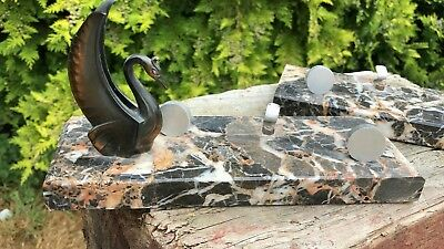 A Pair Beautiful Vintage Art Deco Spelter Swans On Marble Base Picture Holders *