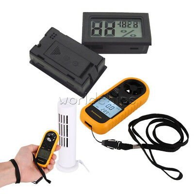 NTC Thermometer Mini LCD Wind Speed Gauge Air Velocity Meter Digital Anemometer