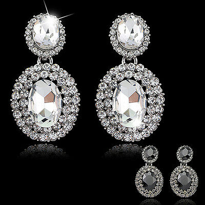 FX- HK- Women's Vintage Luxury Oval Rhinestone Statement Drop Dangle Earrings Je