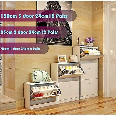 Super Thin Wooden Shoe Cabinet Large Storage Organiser Shelf Chest 6/12/18 Pairs