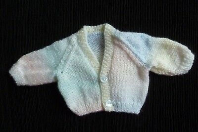 Baby clothes UNISEX BOY GIRL premature/tiny<6lbs/2.7kg pastel rainbow cardigan